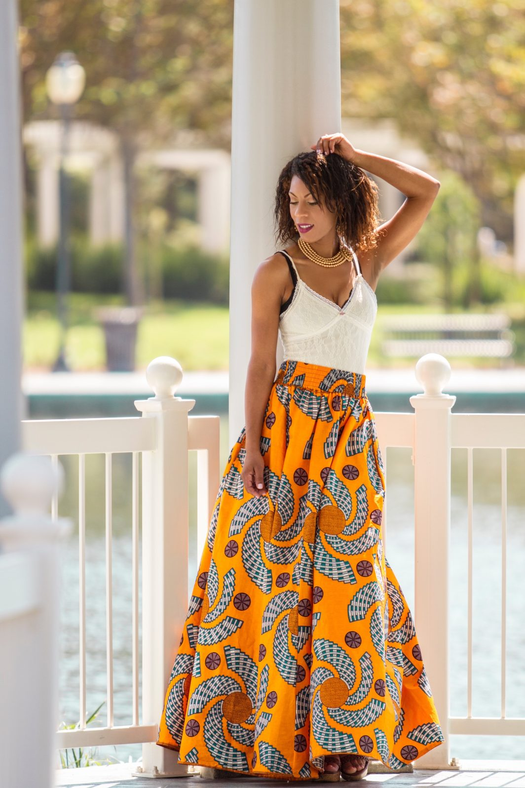 65f4f6f3e8 High Waisted African Print Maxi Skirt with Side Pockets | Come Style ...